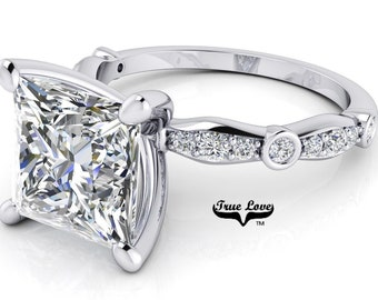 Moissanite Engagement Ring Trek Quality #1 D-E Colorless or G-H Near Colorless with Side Moissanites set in 14kt Gold #6781