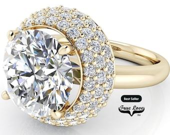Round Brilliant Moissanite Engagement Ring Trek Quality #1 D-E Colorless or G-H Near colorless VVS clarity set in 14 kt Yellow Gold #6963