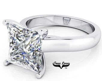 Moissanite Engagement Ring 14kt white Gold, Trek Quality #1, Wedding Ring,  Decorative Moissanites, Square Cut, Princess Cut #6940