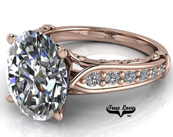 Moissanite Engagement Ring 14kt Rose Gold, Trek Quality #1, D-E Colorless or G-H Near Colorless with Side Moissanites #6830