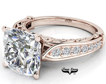 Cushion Cut Moissanite Trek Quality#1 D-E Colorless or G-H near Colorless Engagement Ring 14kt Rose Gold  #6739