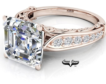 Asscher cut Moissanite Trek Quality #1 D-E Colorless or G-H Near Colorless Engagement Ring 14kt Rose Gold  #6789