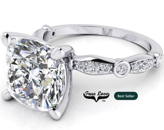 Moissanite Cushion Cut Engagement Ring Trek Quality #1 D-E Colorless or G-H Near Colorless, 14kt White Gold  #6840