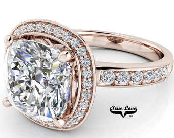 Moissanite Engagement Ring, Trek Quality #1 D-E Colorless, or GH Near Colorless VVS Clarity 14kt set in Rose Gold #7039