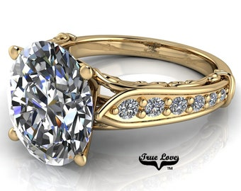 Moissanite Engagement Ring 14kt Yellow Gold, Trek Quality #1, D-E Colorless or G-H Near Colorless with Side Moissanites #6829
