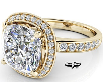 Moissanite Engagement Ring, Trek Quality #1 D-E Colorless, or GH Near Colorless VVS Clarity 14kt set in Yellow Gold #6954