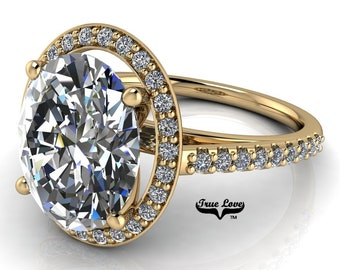 Moissanite Trek Quality #1 Oval Cut Engagement Ring D-E or G-H Color set in 14kt Yellow Gold  #7127