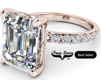 1.75,2.50,4 or 5 Carat Moissanite,TrekQuality #1 D-E-F or G-H Color VVS Clarity Emerald Cut, Brand:True Love Eng. Ring 14 kt.Gold #8360RE