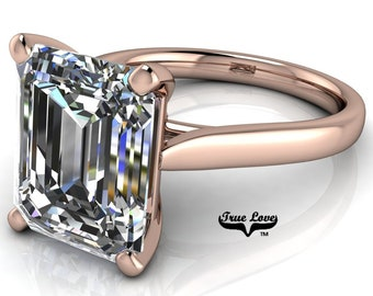 Moissanite Emerald Cut Engagement Ring, Trek Quality #1 VVS Clarity  D-E colorless or G-H near Colorless set in 14kt Rose gold #6736