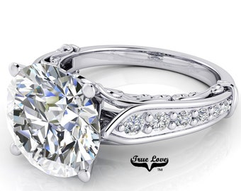 Round Brilliant Moissanite Trek Quality #1 D-E Colorless or G-H Near Colorless Brand True Love Engagement Ring set in 14kt White Gold #6769