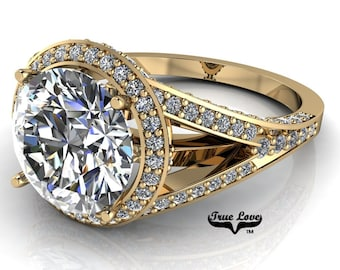 Moissanite Engagement Ring Trek Quality #1 D-E or G-H Color VVS Clarity as Listed 14 kt Yellow Gold. #7096