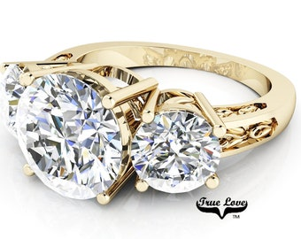 Moissanite Round Brilliant Cut Engagement Ring Trek Quality #1 set in 14kt Yellow Gold #6928