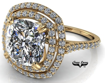 Moissanite Cushion Cut Engagement Ring ,Trek Quality #1 D-E Colorless or G-H Near Colorless set in 14 kt Yellow Gold #7064
