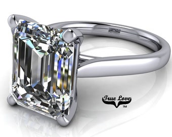 Emerald Cut Moissanite Engagement  Ring Trek Quality #1 VVS Clarity  D-E colorless or G-H near Colorless set in 14kt White Gold #6737.