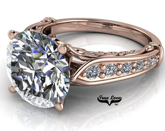 Round Brilliant Moissanite Trek Quality #1 D-E Colorless or G-H Near Colorless Brand True Love Engagement Ring set in 14kt Rose Gold #6771