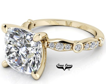 Moissanite Cushion Cut Engagement Ring Trek Quality #1 D-E Colorless or G-H Near Colorless, 14kt Yellow Gold  #6841
