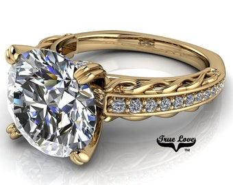 Round Brilliant Cut Moissanite D-E Colorless or G-H near colorless VVS Clarity Trek Quality #1 Engagement Ring 14kt Yellow Gold. #6717