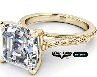 Moissanite Engagement Ring 14kt yellow Gold, Trek Quality #1 from 1 to 3 Carat , Wedding Ring, Side Moissanites, Assher Cut  #8264