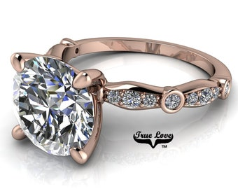 Moissanite Engagement Ring Trek Quality #1 D-E Colorless or G-H Near Colorless,   Side Moissanites 14kt Rose Gold #6774