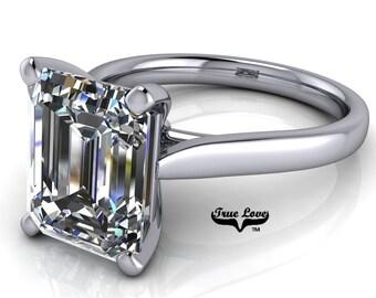 Emerald Cut Moissanite Engagement Ring Trek Quality #1 D-E or G-H Color VVS Clarity 14 kt. White Gold #7055