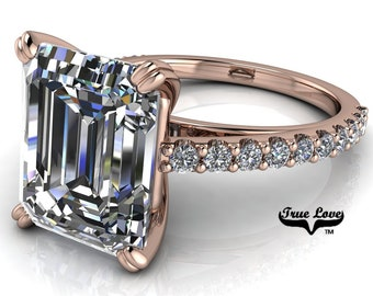 Emerald Cut Moissanite Engagement Ring Trek Quality #1 VVS Clarity D-E Colorless or G-H near Colorless set in 14 kt Rose gold #6819