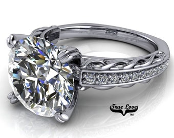 Round Brilliant Cut Moissanite D-E Colorless or G-H near colorless VVS Clarity Trek Quality #1 Engagement Ring 14kt White Gold. #6716
