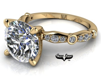 Moissanite Engagement Ring Trek Quality #1 D-E Colorless or G-H Near Colorless,   Side Moissanites 14kt Yellow Gold #6773