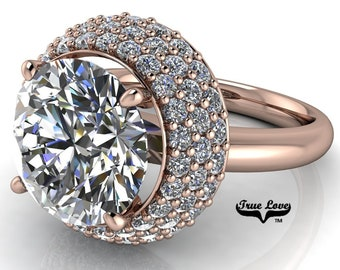 Round Brilliant Cut Moissanite Engagement Ring Trek Quality #1 D-E Colorless or G-H Near colorless VVS clarity set in 14 kt Rose Gold #6924