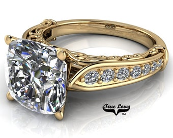 Cushion Cut Moissanite Trek Quality#1 D-E Colorless or G-H near Colorless Engagement Ring 14k Yellow Gold  #6740