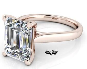 Emerald Cut Moissanite Engagement Ring Trek Quality #1 D-E or G-H Color VVS Clarity 14 kt. Rose Gold #6991