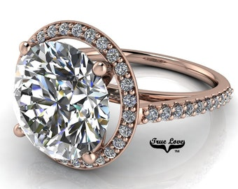 Round Brilliant Cut Moissanite Engagement Ring Trek Quality #1 D-E or G-H Color VVS Clarity set in 14kt Rose Gold  #7125