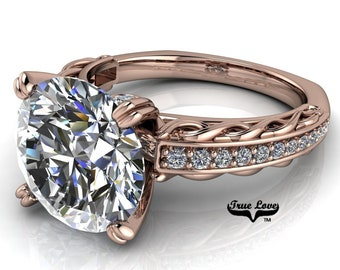 Round Brilliant Cut Moissanite D-E Colorless or G-H near colorless VVS Clarity Trek Quality #1 Engagement Ring 14kt Rose Gold. #6718