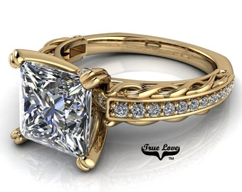 Princess Cut Moissanite Engagement Ring Trek Quality #1, D-E Colorless or G-H near colorless VVS Clarity set in 14 kt Yellow Gold #6785