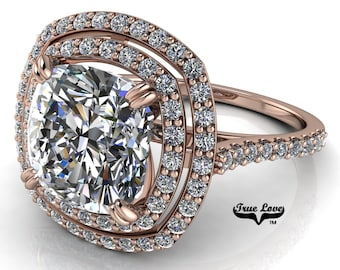 Moissanite Cushion Cut Engagement Ring ,Trek Quality #1 D-E Colorless or G-H Near Colorless set in 14 kt Rose Gold #7065