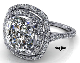 Moissanite Cushion Cut Engagement Ring ,Trek Quality #1 D-E Colorless or G-H Near Colorless set in 14 kt White Gold #6990