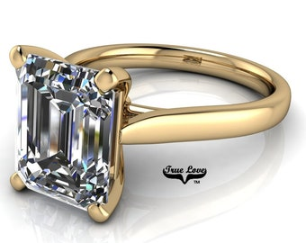 Emerald Cut Moissanite Engagement Ring Trek Quality #1 D-E or G-H Color VVS Clarity 14 kt. Yellow Gold #7054