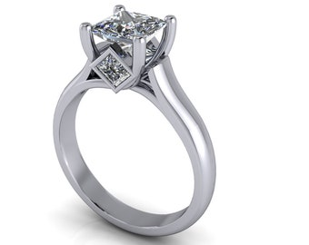 Payment #3 Custom order for Isabella 1.25 Carat  Princess Cut  6mm Moissanite Number 1,D E Colorless VVS Clarity Engagement Ring 14kt. 6918C