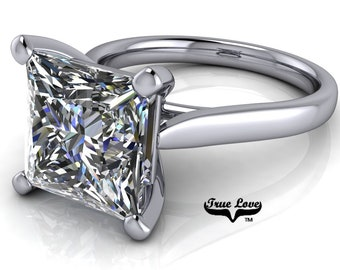 Moissanite Princess Cut Engagement Ring, Trek Quality #1 VVS Clarity D-E Colorless or G-H Near Colorless set in 14kt White Gold #6775