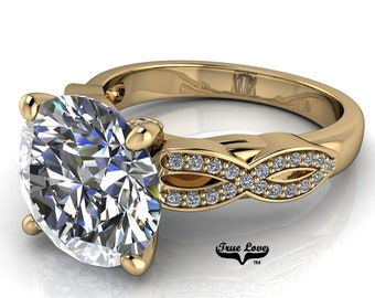 Moissanite Engagement Ring Trek Quality #1 D-E Colorless or G-H Near Colorless VVS Clarity set in 14kt Yellow Gold #7031