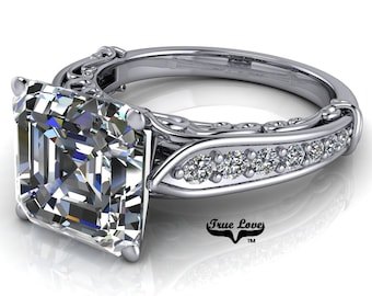 Asscher cut Moissanite Trek Quality #1 D-E Colorless or G-H Near Colorless Engagement Ring 14kt White  Gold  #6787