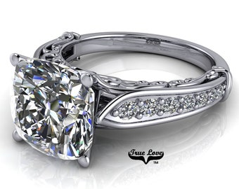 Cushion Cut Moissanite Trek Quality#1 D-E Colorless or G-H near Colorless Engagement Ring 14k White Gold  #6738