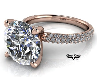 Round Brilliant Moissanite Engagement Ring Trek Quality #1, VVS Clarity DE Colorless or GH near Colorless set in 14kt Rose Gold #6983