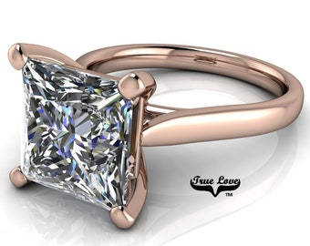 Moissanite Princess Cut Engagement Ring, Trek Quality #1 VVS Clarity D-E Colorless or G-H Near Colorless set in 14kt Rose Gold #6776