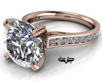 Round Brilliant Cut Moissanite Engagement ring Trek Quality #1 D-E Colorless or G-H Near Colorless set in 14kt Rose gold #6722