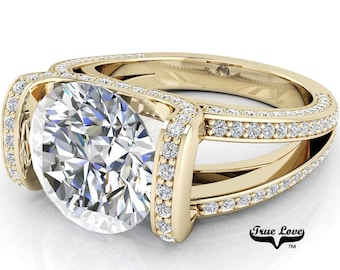 Moissanite Round Brilliant Cut Trek Quality #1 D-E Colorless or G-H Near Colorless VVS Clarity, Eng. Ring 14kt Yellow Gold #6801
