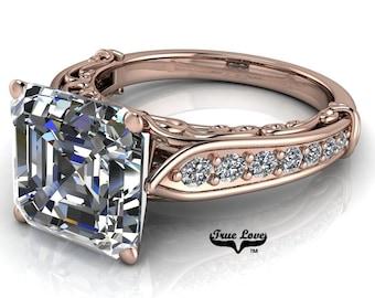 Asscher cut Moissanite Trek Quality #1 D-E Colorless or G-H Near Colorless Engagement Ring 14kt Rose Gold  #6789