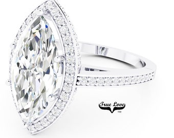 Moissanite Engagement Ring 14 kt White Gold, Trek Quality #1, Wedding Ring, Halo, Side Moissanites, Marquise #7046