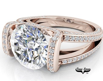 Moissanite Trek Quality #1 D-E Colorless or G-H Near Colorless VVS Clarity, Brand:True Love Eng. Ring 14kt Rose Gold #6802