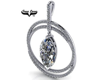 Moissanite Pendant D-E Colorless VVS clarity 16 x 8 mm 4 Carat Marquise, Double Row Circle with Articulated Dangle 14 kt gold.#5400