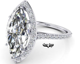 Moissanite Marquise Cut Engagement Ring Trek Quality# 1  D-E Color VVS Clarity Halo 14 kt White gold . #7058
